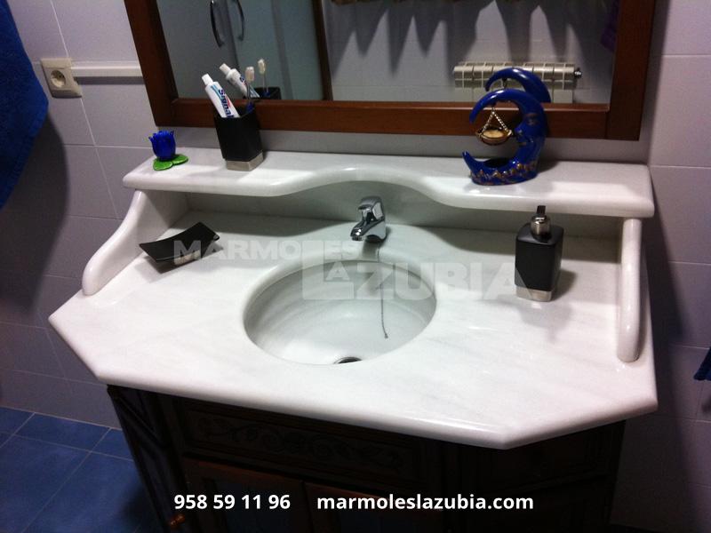 Encimera de baño en blanco macael