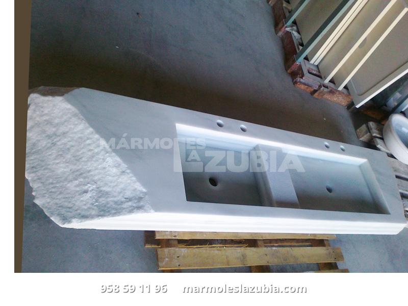 Fregadero macizo doble de mármol blanco macael en costero