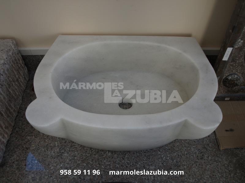 Lavabo macizo de mármol blanco macael con forma