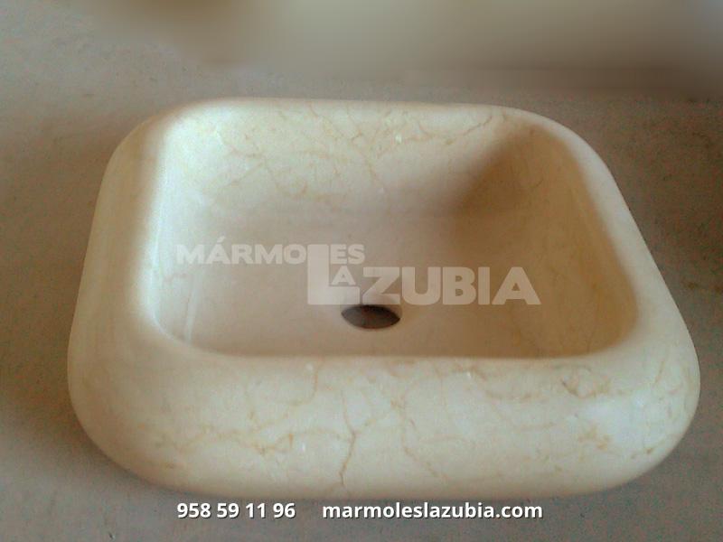 Lavabo macizo de mármol crema Marfil envejecido recto canteado en curva