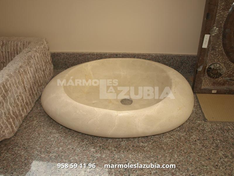 Lavabo macizo de mármol crema Marfil envejecido recto canteado en curva irregular