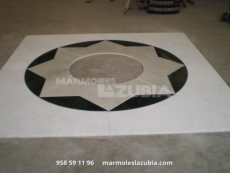 Estrella de mármol para enmarcado en solería jugando con distintos materiales Blanco, Verde y Crema